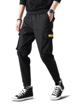 Popular Letter Print Applique Drawstring Cargo Jogger Pants   Black S by Zaful