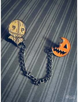 Trick R Treat Sam And Pumpkin Sucker Chain Enamel Lapel Pin Set By Void Ea D by Etsy
