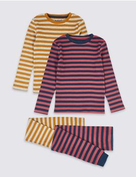 2 Pack Cotton Striped Pyjama Sets (1 7 Years) by Marks & Spencer