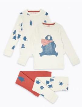 2 Pack Cotton Polar Bear Print Pyjama Set (1 7 Years) by Marks & Spencer