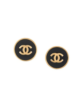 Cc Button Earrings by Chanel Pre Owned