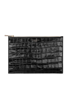 Large Flat Crocodile Printed Pouch by Aspinal Of London