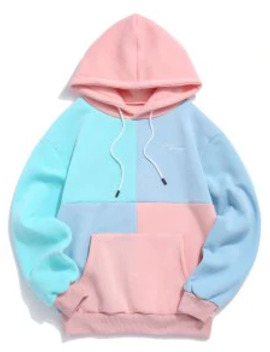 Popular Casual Color Spliced Pouch Pocket Hoodie   Pink M by Zaful