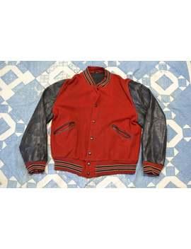 1950s Wool & Leather Varsity Jacket by Etsy