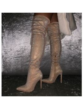 Vakili Nude Suede Diamonte Thigh High Stiletto Boots by Simmigirl