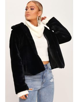 Black Short Faux Fur Coat by I Saw It First