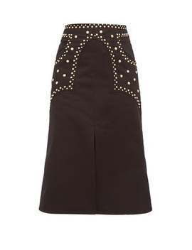 Studded Cotton Twill A Line Skirt by Françoise