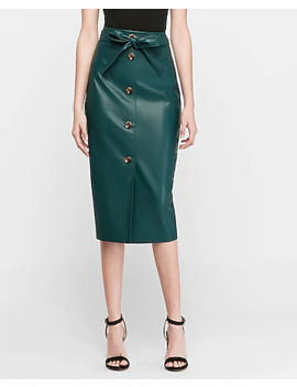 High Waisted Vegan Leather Button Front Midi Skirt by Express