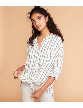 Lou & Grey Plaid Tie Front Shirt by Loft