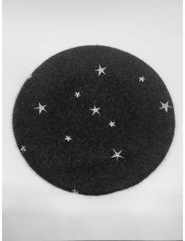 Dark Grey Will Beret With Silver Star Studs by Etsy