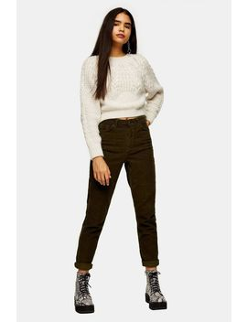 Khaki Corduroy Mom Jeans by Topshop