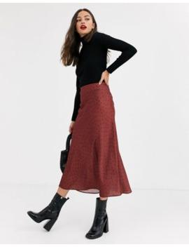 New Look – Brun, Prickig Satinkjol I Diagonalskuren Modell by New Look