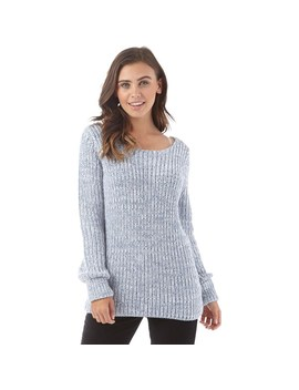 Fluid Womens Scoop Neck 3/4 Sleeve Sweater Blue Twist by Fluid