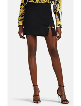 Safety Pin Detailed Wool Miniskirt by Versace