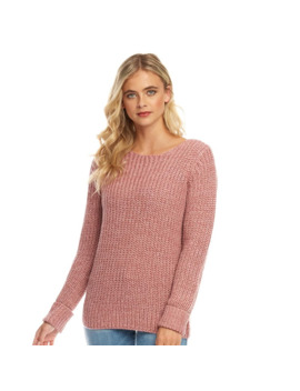 Fluid Womens Scoop Neck Sweater Dusky Pink by Fluid