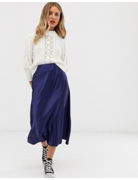 New Look – Marinblå Diagonalskuren Midikjol by New Look