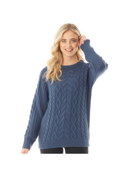 Board Angels Women Cable Knit Sweater Mid Grey by Board Angels