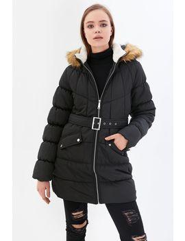 Black Longline Fur Trim Puffer Jacket by Select
