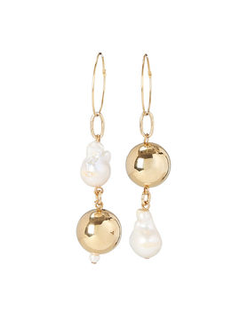 Pagoda Mismatched Pearl Earrings by Mounser
