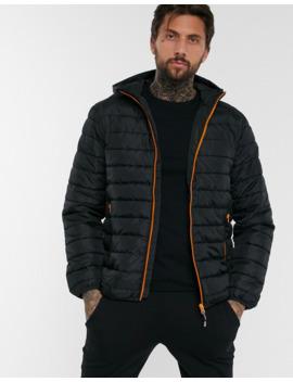 Only &Amp; Sons Quilted Jacket With Hood In Black by Only & Sons