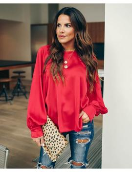 Kelly Satin Statement Blouse   Red by Vici