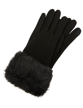 Faux Fur Cuff Touch Phone Gloves by Accessorize