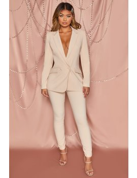 Business As Usual High Waisted Tailored Trousers In Cream by Oh Polly
