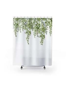 Leaves Shower Curtain, Bath Curtain, Green Shower Curtain, Modern Bathroom Decor, Boho Shower Curtain, Modern Shower Curtain by Etsy