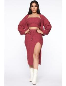 Wouldn't Knit Be Nice 3 Piece Set   Marsala by Fashion Nova