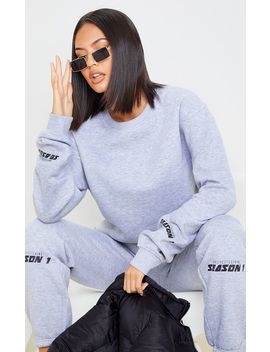 Prettylittlething Grey Season 1 Slogan Sweater by Prettylittlething