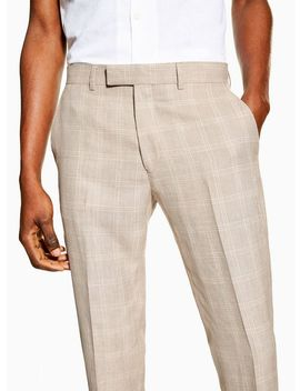 Stone Skinny Fit Premium Check Suit Trousers by Topman