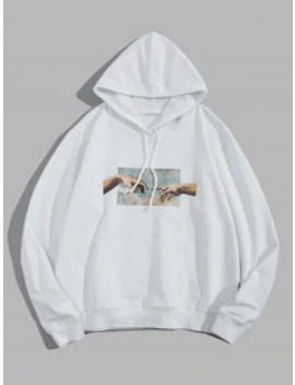 Popular Helping Hands Graphic Front Pocket Lounge Hoodie   White M by Zaful