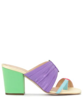 Rainbow Pleated Mules by Rosie Assoulin