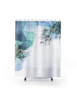 Blue Watercolor Shower Curtain, Modern Bathroom Decor, Navy Blue Shower Curtain, Blue Bathroom Decor, Art Shower Curtain by Etsy