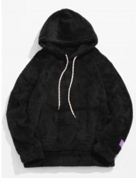 Sale Solid Pouch Pocket Fluffy Hoodie   Black M by Zaful