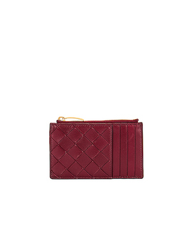 Leather Woven Long Card Case Wallet by Bottega Veneta