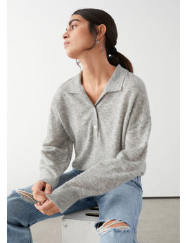 Collared Wool Blend Melangé Sweater by & Other Stories