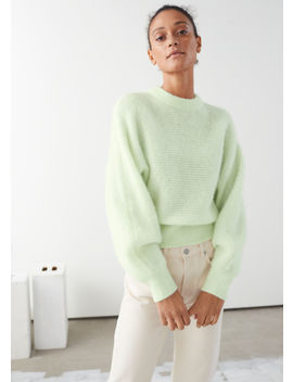 Cropped Wool Blend Puff Sleeve Sweater by & Other Stories