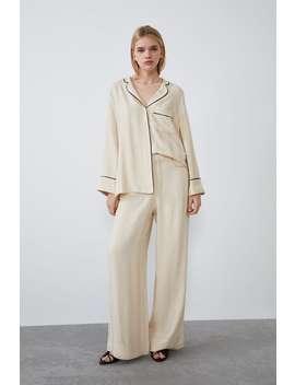 Camicia Stile Pigiama Con Contrasti by Zara