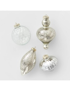 10ct Glass Assorted Christmas Ornament Set Clear & Silver Mercury Glass   Wondershop™ by Shop This Collection