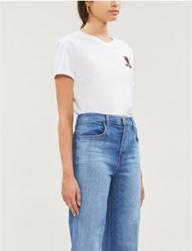 Embroidered Cotton Jersey T Shirt by Sandro