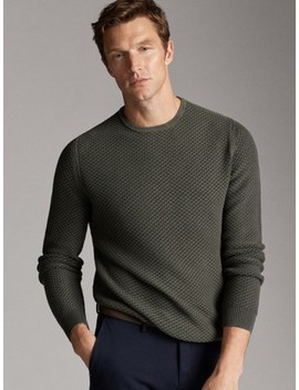 Textured Cotton Round Neck Sweater by Massimo Dutti