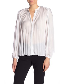 Solid Pleated Balloon Sleeve Blouse by Vince