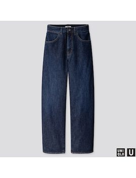 Women Uniqlo U High Rise Wide Leg Curved Jeans (L32) (33) by Uniqlo