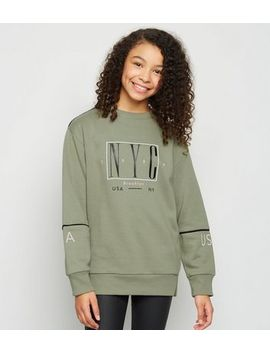 Girls Khaki Nyc Slogan Long Sweatshirt by New Look