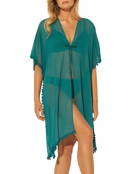 Gypset Pom Trim Cover Up Caftan by Bleu By Rod Beattie