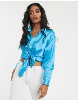 Missguided – Klarblå Skjorta I Satin Och Oversize Modell by Missguideds