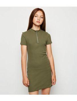 Girls Khaki Organic Cotton Ring Pull Dress by New Look