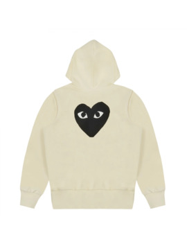 Cdg Play Black Heart Cream Zip Up Hoodie by Comme Des Garcons Play  ×