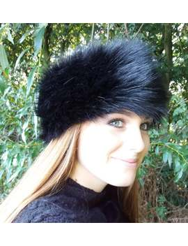 Long Black Faux Fur Headband / Neckwarmer / Earwarmer Handmade In Lancashire England by Etsy